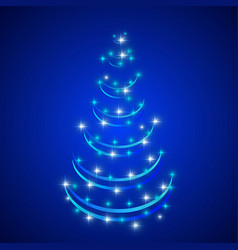 Abstract christmas tree in blue background vector