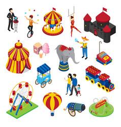 amusement park isometric set vector image