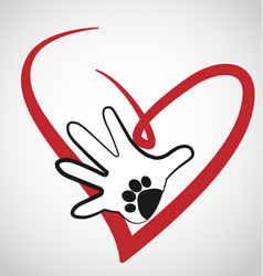 Animal lover with hand and paw icon vector