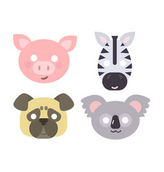 Animals carnival mask set festival vector