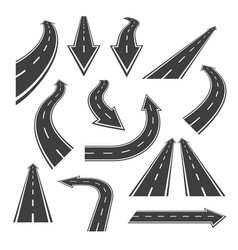 arrow road set road arrows with white markings vector image