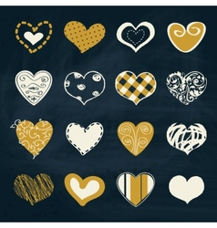 Artistic collection of hearts in assorted designs vector image vector image