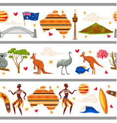 Australia seamless borders australian traditional vector