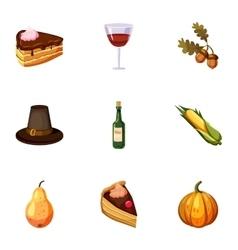 Autumn festival icons set cartoon style vector
