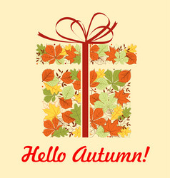 Autumn greeting card gift box with fallen leaf vector
