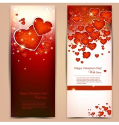 Beautiful greeting cards with red hearts and copy vector image vector image