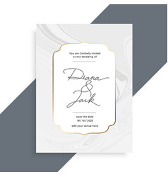 Beautiful marble texture wedding invitation card vector
