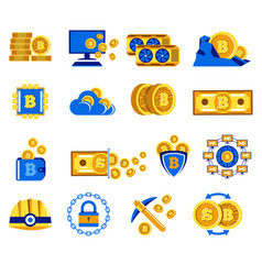 bitcoin icons collection for cryptocurrency mining vector image
