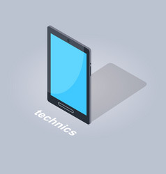 black tablet computer icon flat and shadow theme vector image