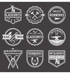 Blacksmith White Emblems On Black Background vector image