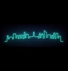 blue neon skyline brisbane city bright vector image