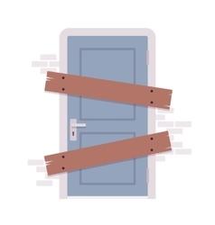 Boarded up door vector image