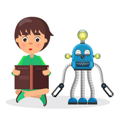 boy sits and reads book beside robot with lamps vector image