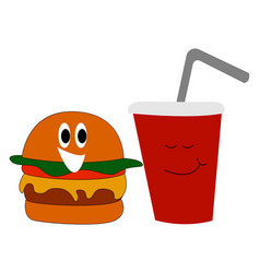 Burger and coke on white background vector