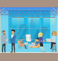 business meeting in creative coworking shared area vector image