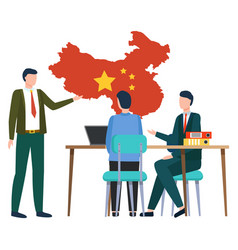 Business with china boss showing map country vector