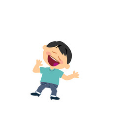 cartoon character of a cheerful asian boy vector image