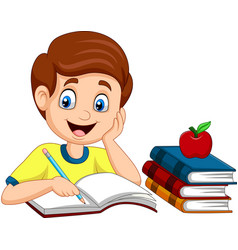 Cartoon little boy studying vector