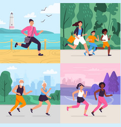 cartoon running workout runner run outdoor at vector image