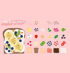 cartoon sandwich ingredients vector image