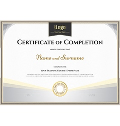 Certificate completion template silver theme vector