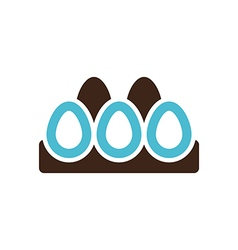 Chicken eggs in a tray icon Garden vector