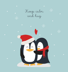 christmas card with penguins hugs vector image