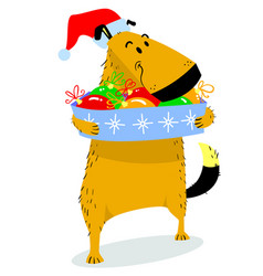 christmas dog character cute pet in santas hat vector image