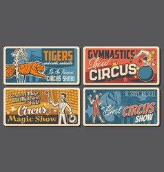 Circus artists and performers retro posters set vector