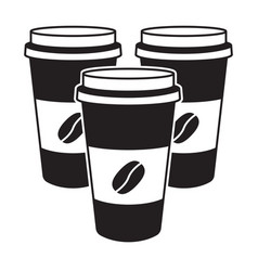 Coffee in disposable paper cup with bean vector