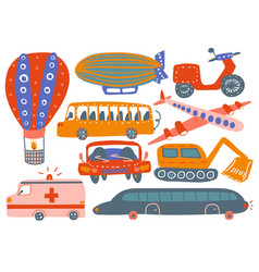 Collection various transport vehicles hot air vector