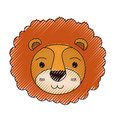 Color crayon silhouette cute face of lion vector