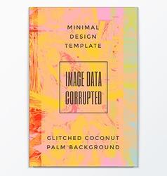 Colored glitch design background poster template vector