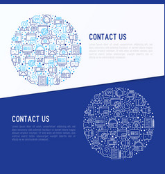 Contact us concept in circle with thin line icons vector