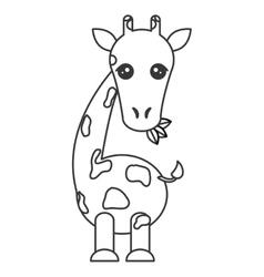 Cute giraffe cartoon icon vector