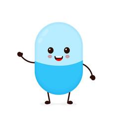 cute happy smiling medicine pill vector image