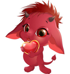 Cute red devil vector