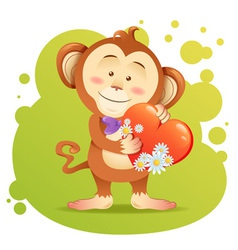 Cute toy Monkey pet isolated holding heart vector