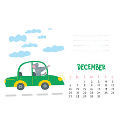 December calendar page with cute rat in travel vector