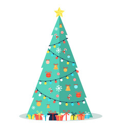 decorated christmas tree with garlands bells bows vector image