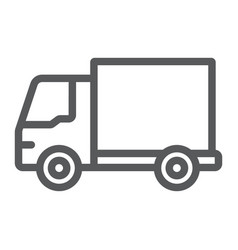 delivery truck line icon traffic and vehicle van vector image