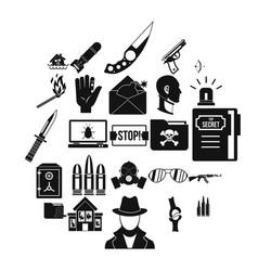 Disturbance icons set simple style vector