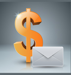 dollar envelope mail email icon vector image