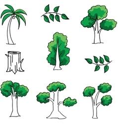 Doodle of tree set art vector image