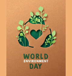 environment day green paper cut recycle card vector image