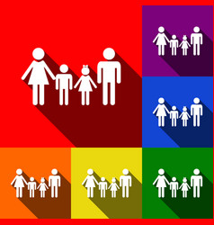 family sign set of icons with flat vector image