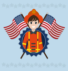 Firefighter labor day vector