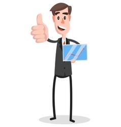 Flat Businessman Tablet Thumb vector image