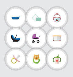 flat icon kid set of rattle nipple napkin and vector image