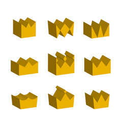 Golden crowns three-dimensional on white isolated vector